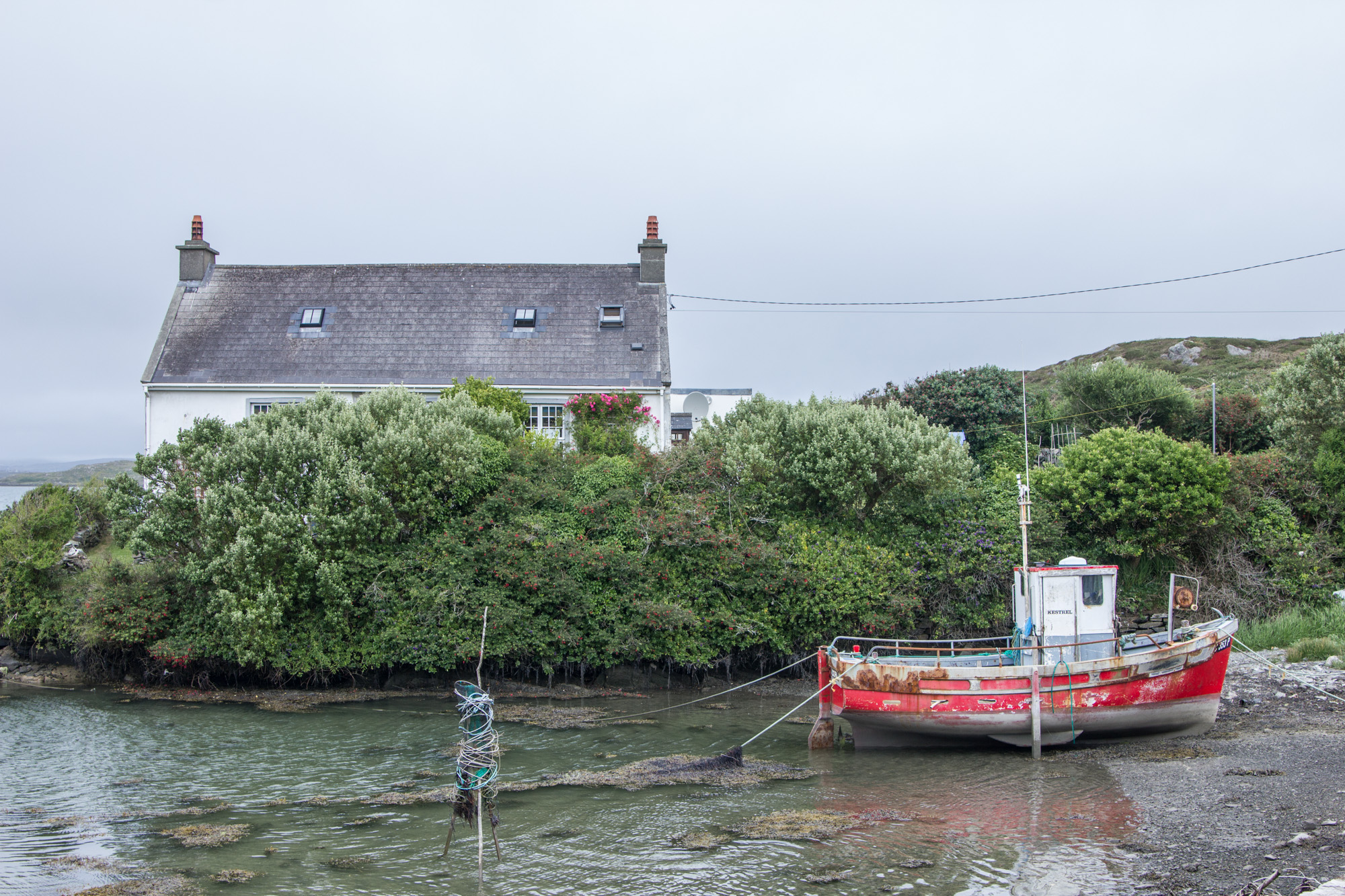 Red boat tied up to a post in the water next to trees and a house on Sherkin Island in Ireland