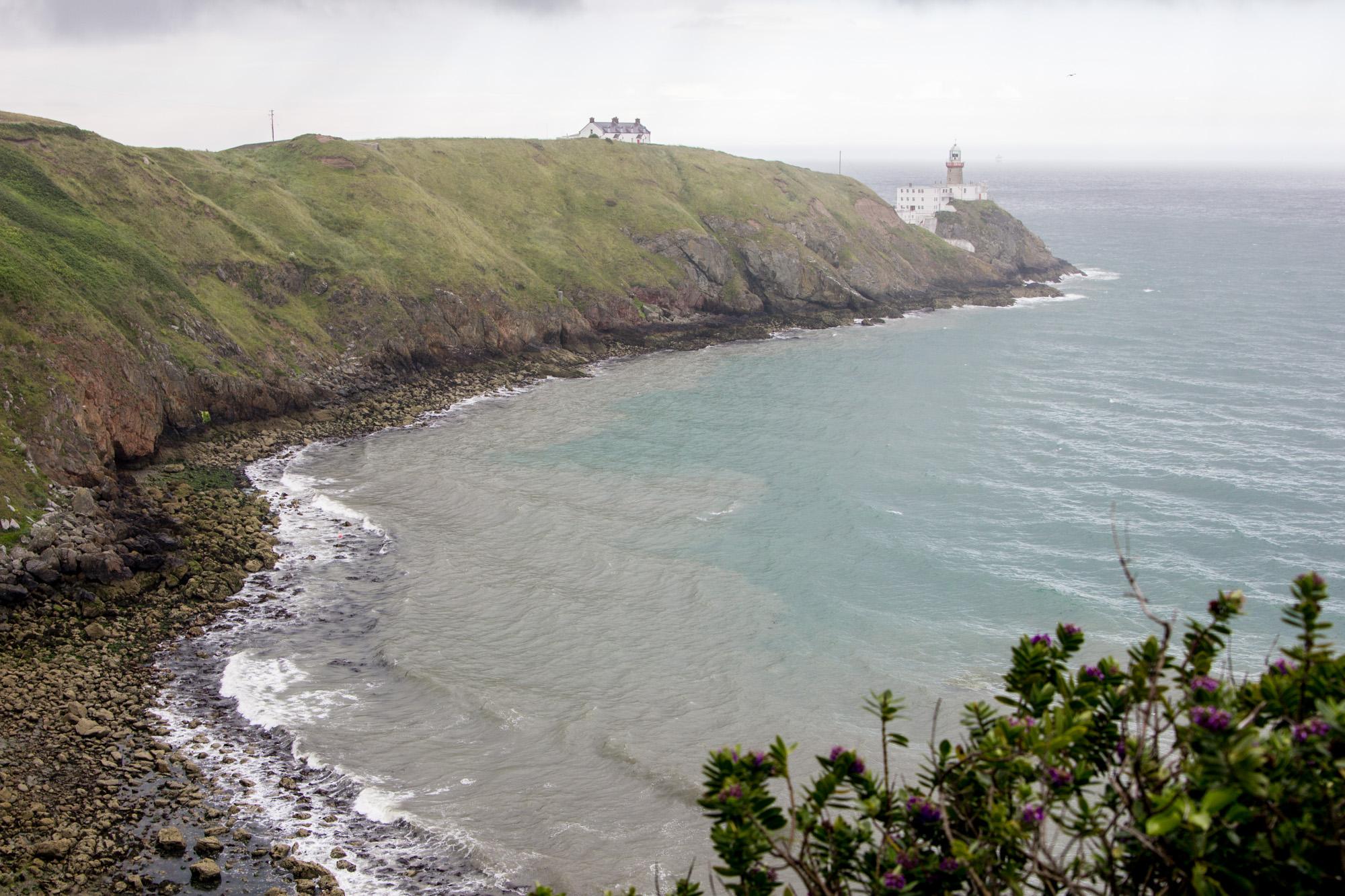 Howth Cliff Walk near Dublin, Ireland has a view of a lighthouse