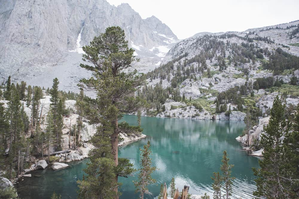 Third Lake on the Big Pine Lakes Trail in the Eastern Sierras near Mammoth in California - a beautiful blue-green lake surrounded by pine trees and mountains