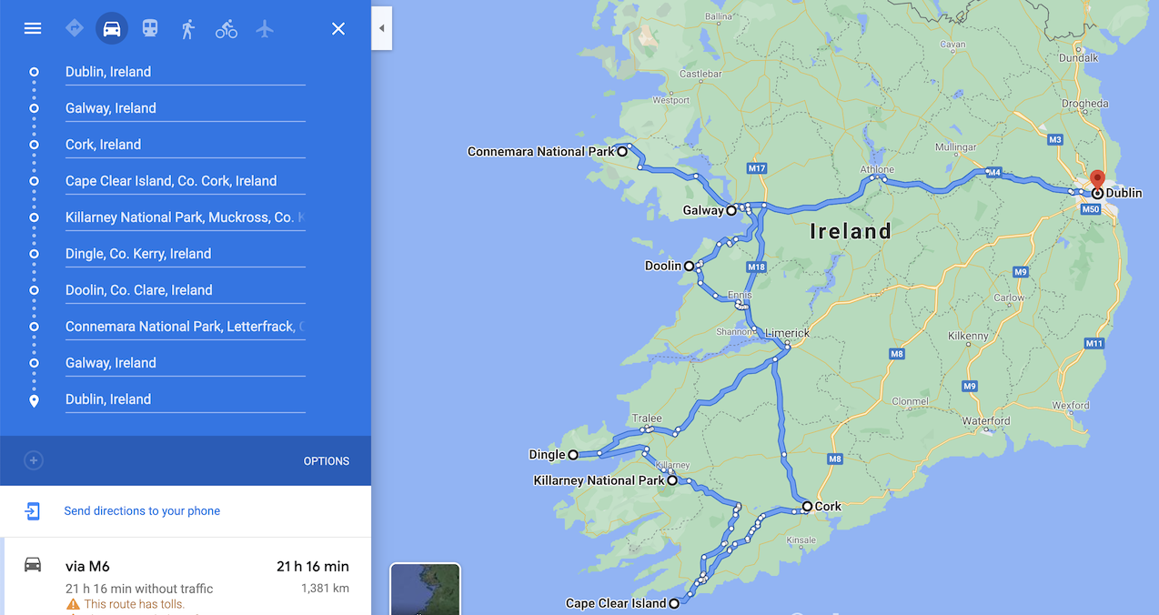 Google Map of Route in Ireland