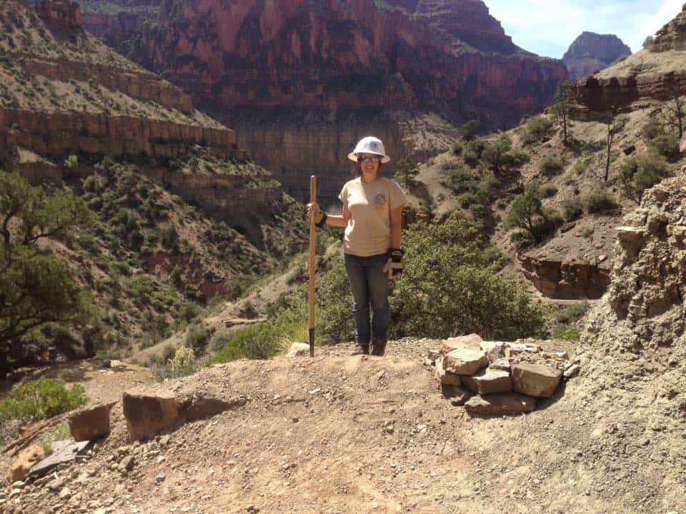 Working on a trail in the Grand Canyon in the conservation corps