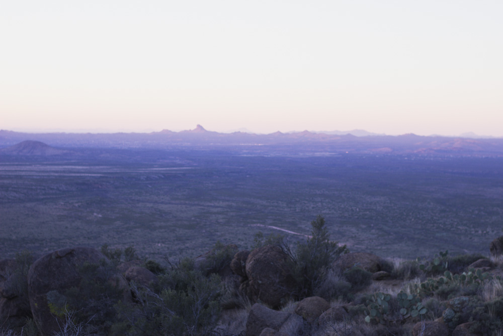 Sunrise in Arizona overlooking mountains in the distance
