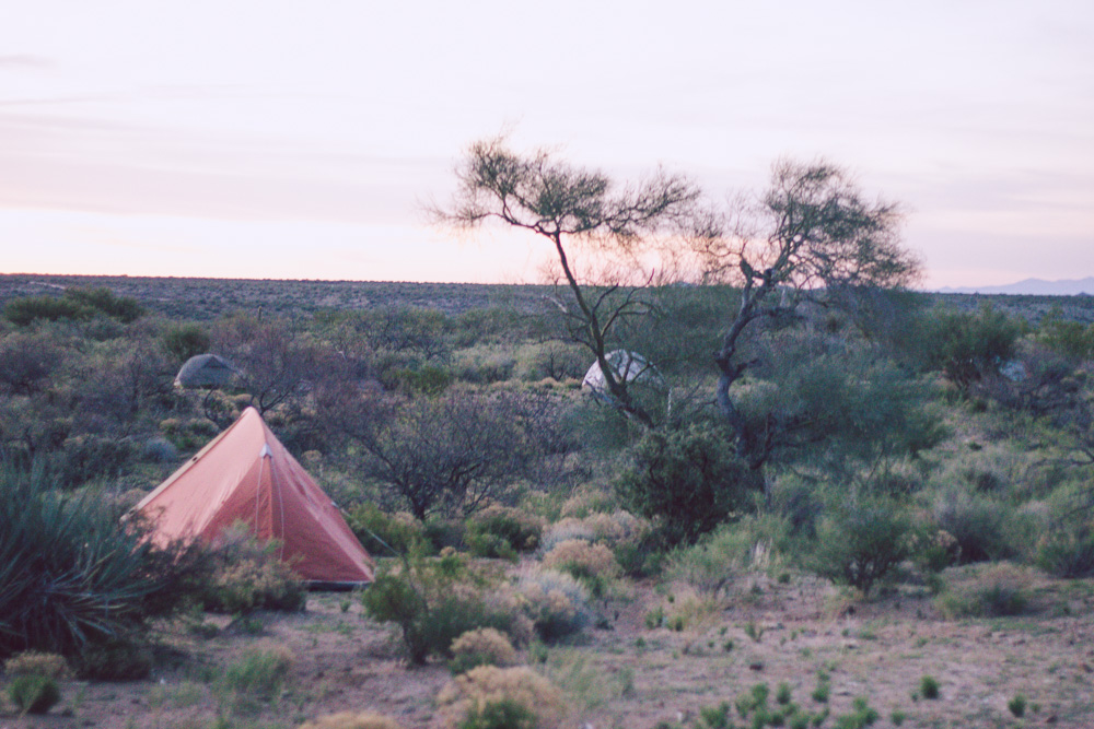 Tent in the Desert During Sunrise