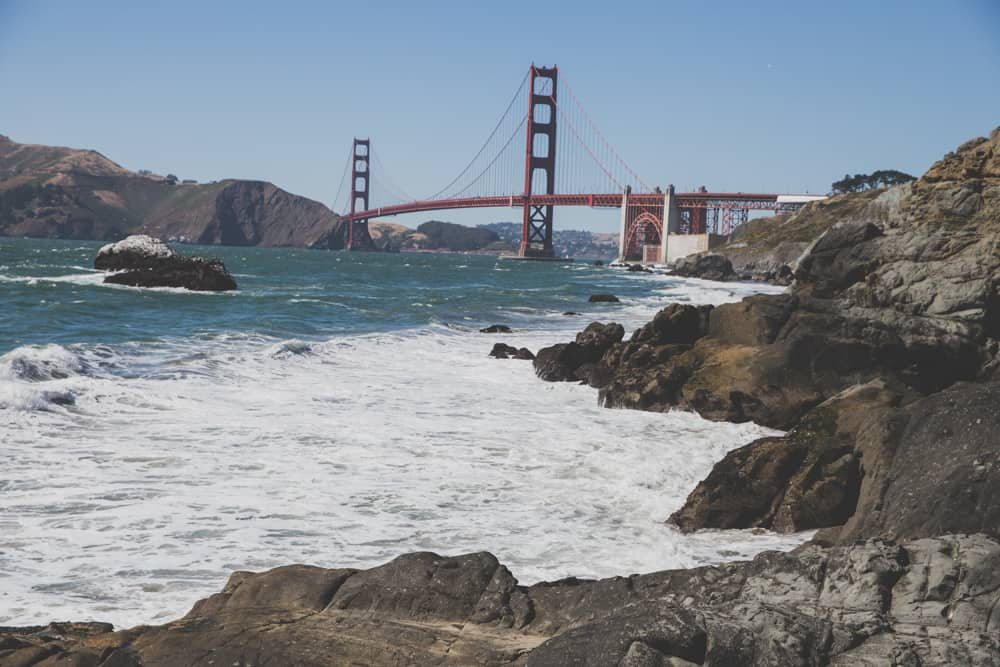 Baker Beach in San Francisco with a view of the Golden Gate Bridge