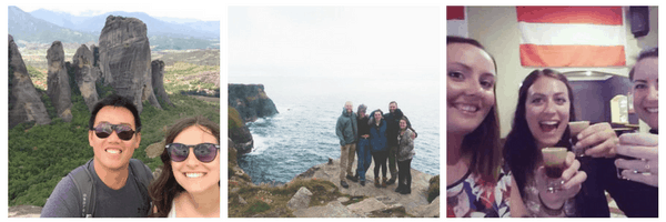 It's easy to meet other travelers while traveling solo - these are 7 people I've met while traveling alone! One picture shows Kelsey and Andrew at Meteora in Greece; the second shows Kelsey standing with 4 other people on the Cliffs of Moher in Ireland; and the third shows Kelsey with two women holding Baby Guinness shots.