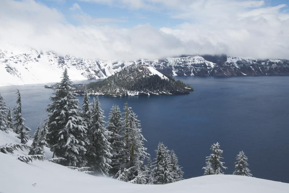 Crater Lake National Park in Oregon in winter