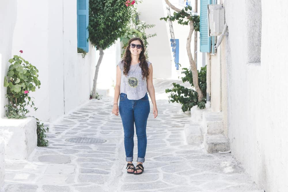 Wearing black Chacos in Paros, Greece