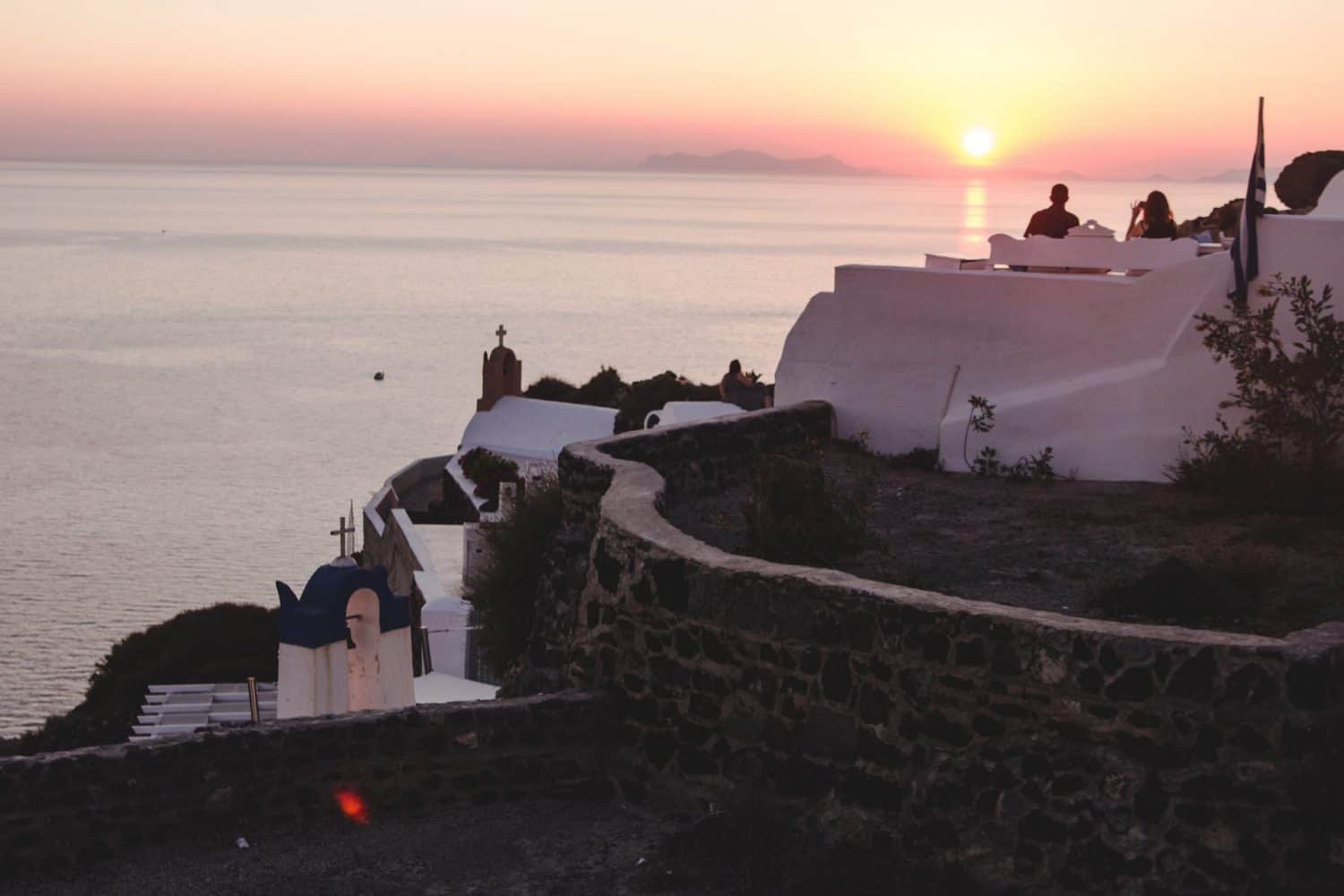 Sunset in Santorini in Oia.