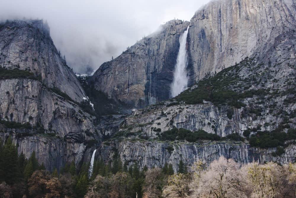 Upper and Lower Yosemite Falls in winter