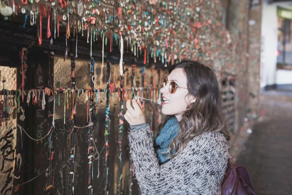 Kelsey at the Gum Wall in Seattle, Washington