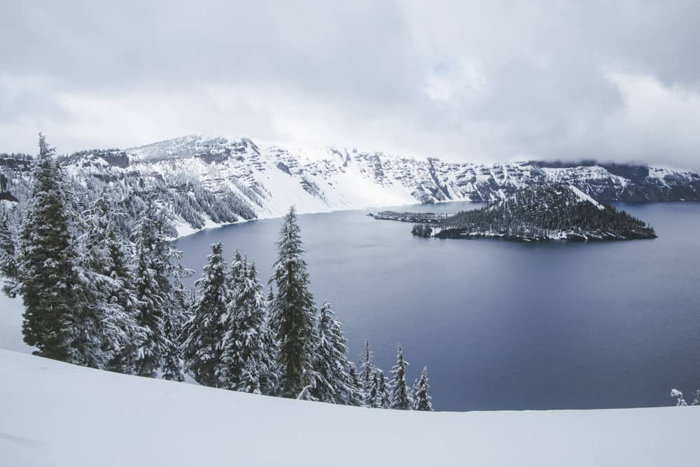 Crater Lake National Park in Oregon in the snow