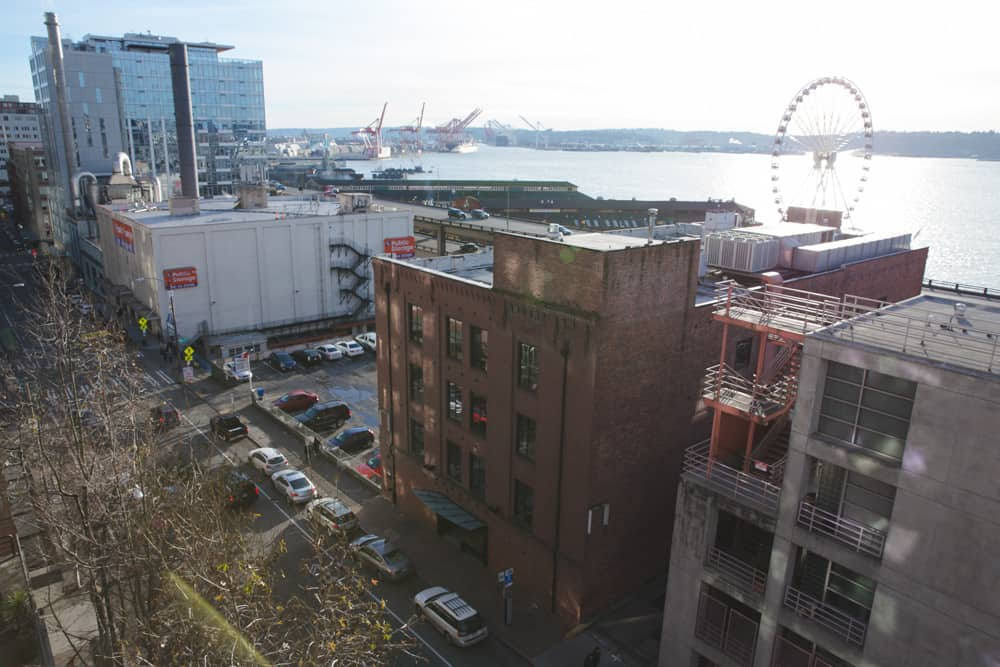 View from the garden in Pike Place Market