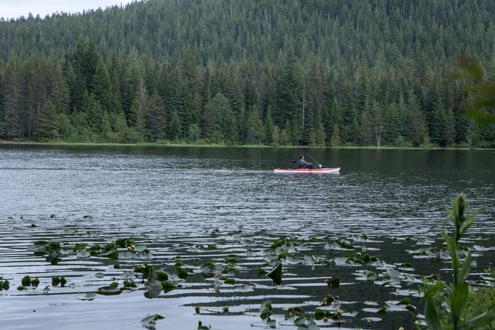 Kayaker on Trillium Lake in Mt Hood in Oregon