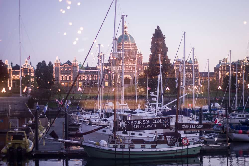 The Parliament Building and harbor in Victoria, Canada