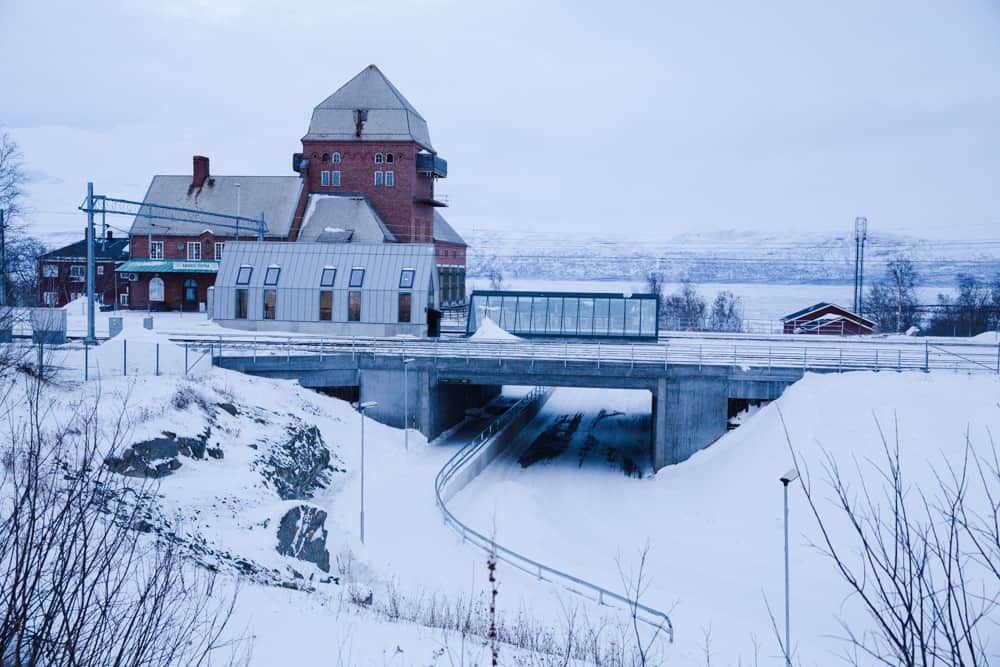 Snowy train station in Abisko, Sweden in January