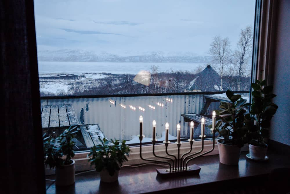 A pretty and snowy view from the Turistation in Abisko, Sweden in January