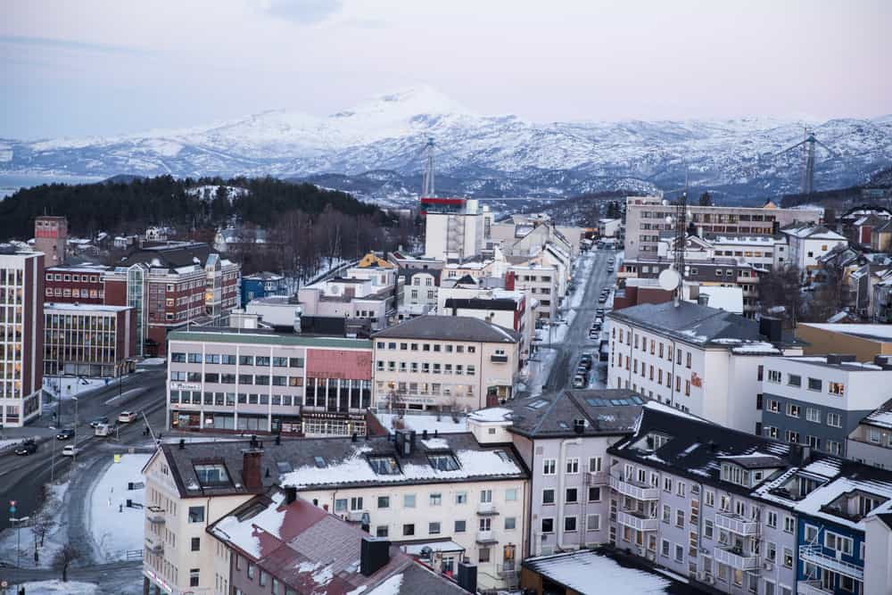 View from Scandic Hotel of snowy Narvik, Norway in winter in January
