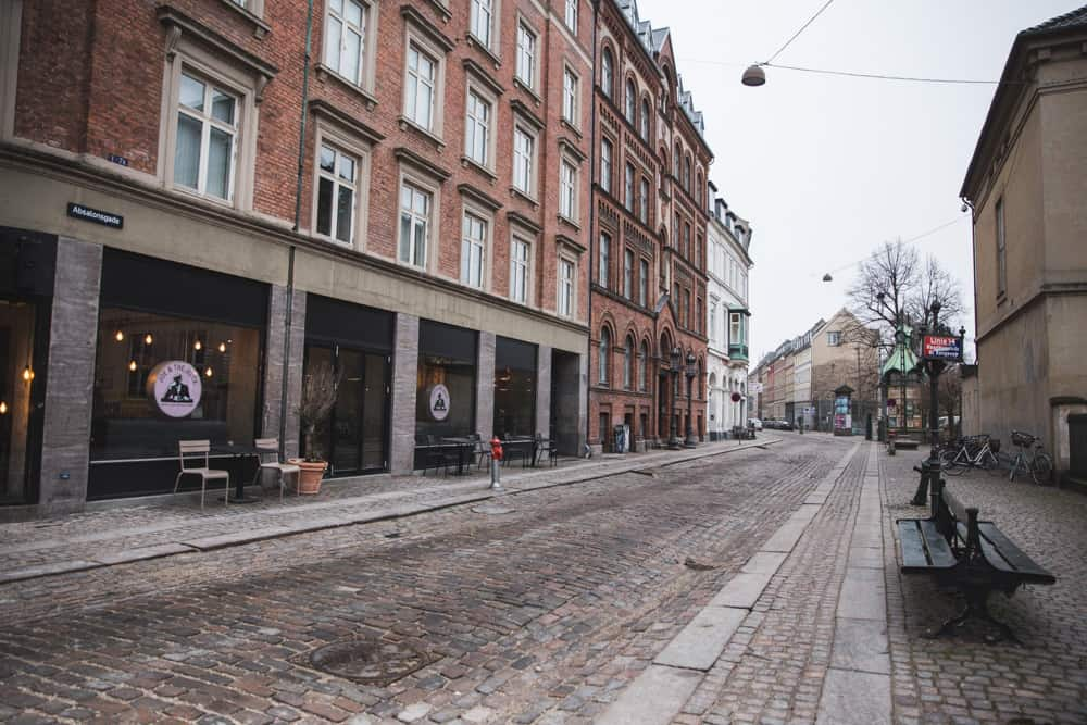 Street in Copenhagen, Denmark in January