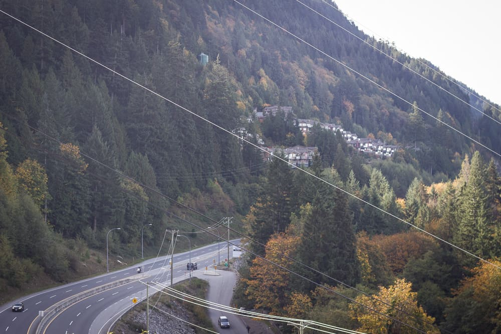 The drive from Vancouver to Squamish is surrounded by trees and mountains