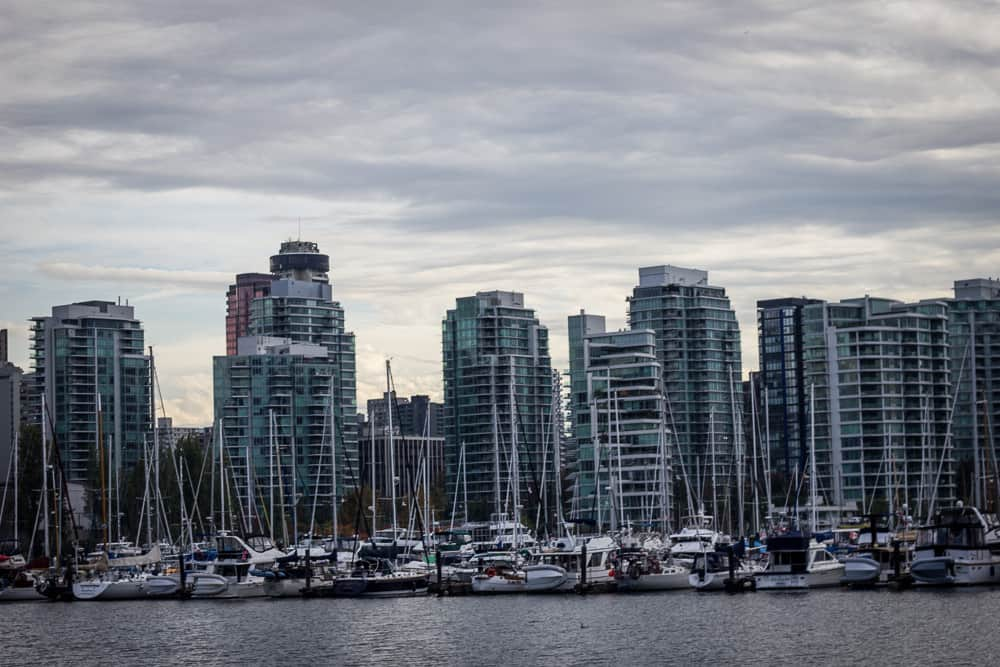 Buildings in Downtown Vancouver, Canada across the harbor