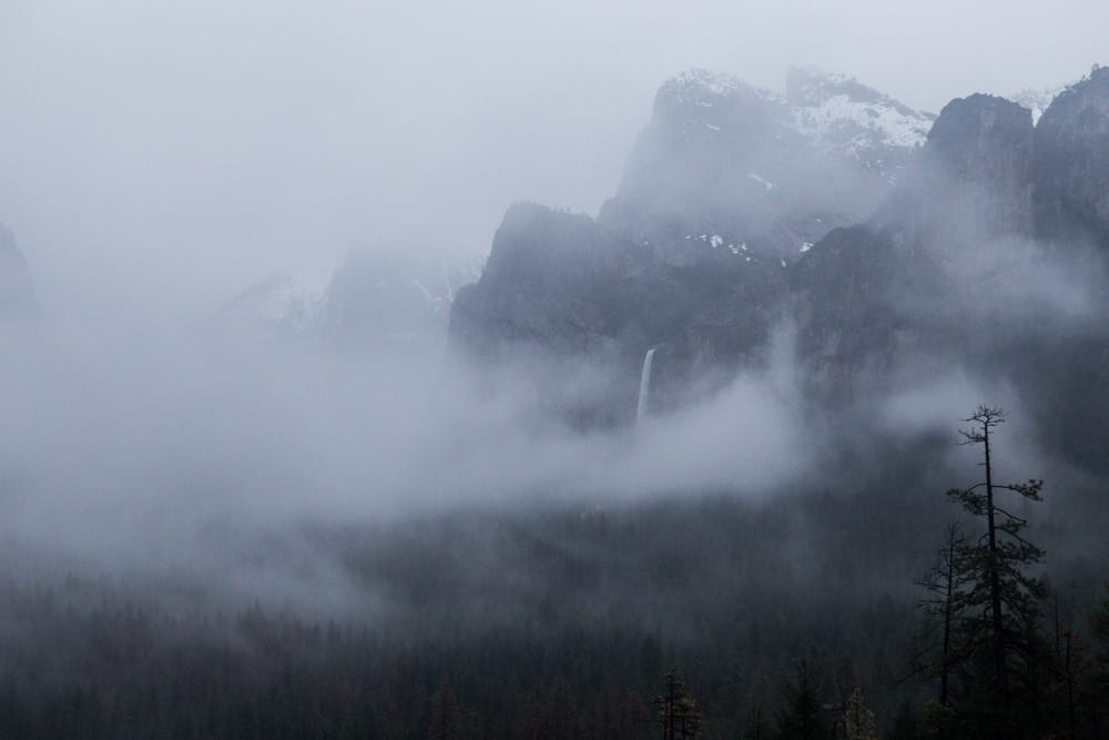 Tunnel View in Yosemite National Park in winter - a fantastic item on your winter itinerary!