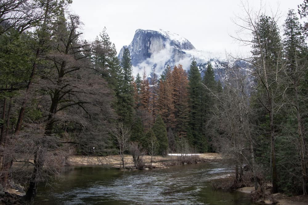 Half Dome in Yosemite National Park in winter