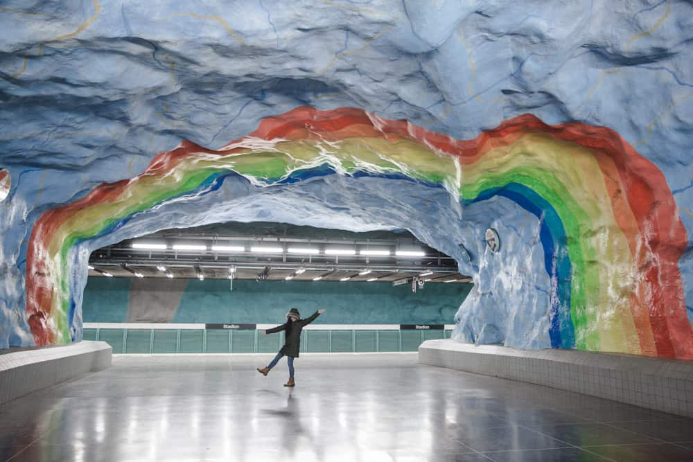 Stadion Rainbow Metro Station in Stockholm, Sweden