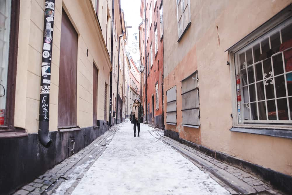 Gamla Stan in Stockholm, Sweden in winter is a fairytale