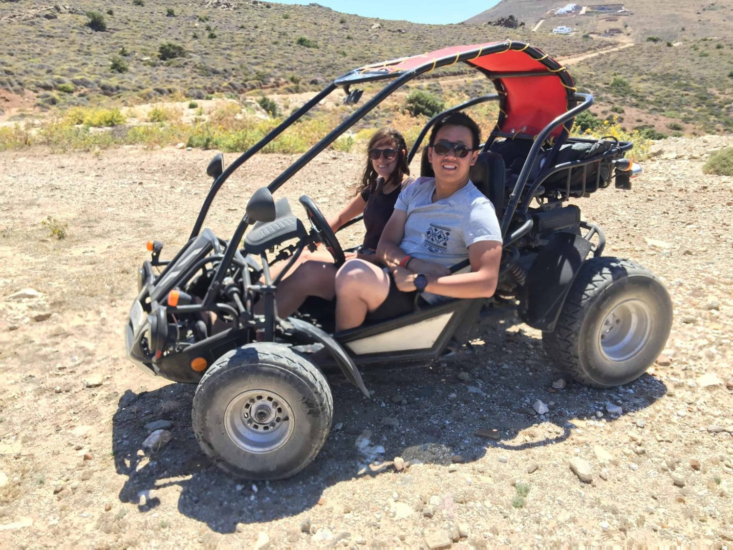 Kelsey and Andrew in a Go-kart in Paros, Greece