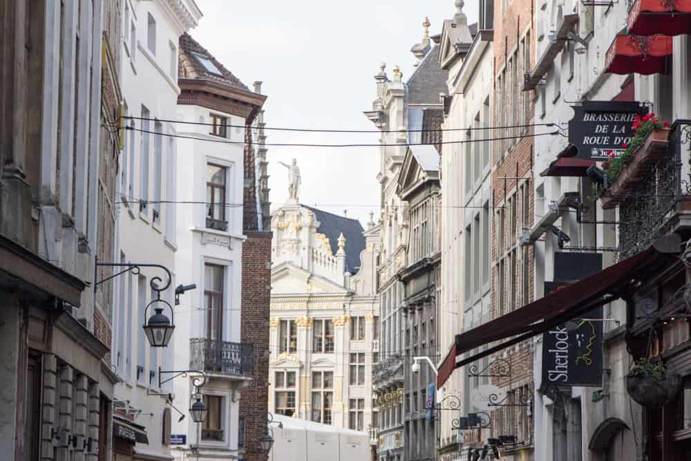 Ornate architecture and pretty buildings along a street in Brussels, Belgium