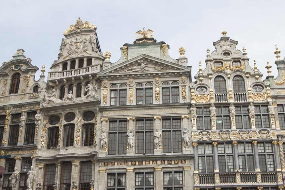 Ornate architecture and gold accents at the Grand Place in Brussels, Belgium