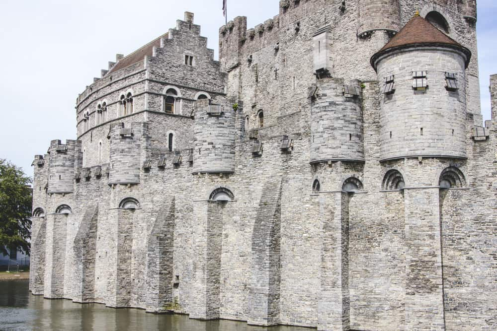 Gravensteen Castle on a river in Ghent, Belgium