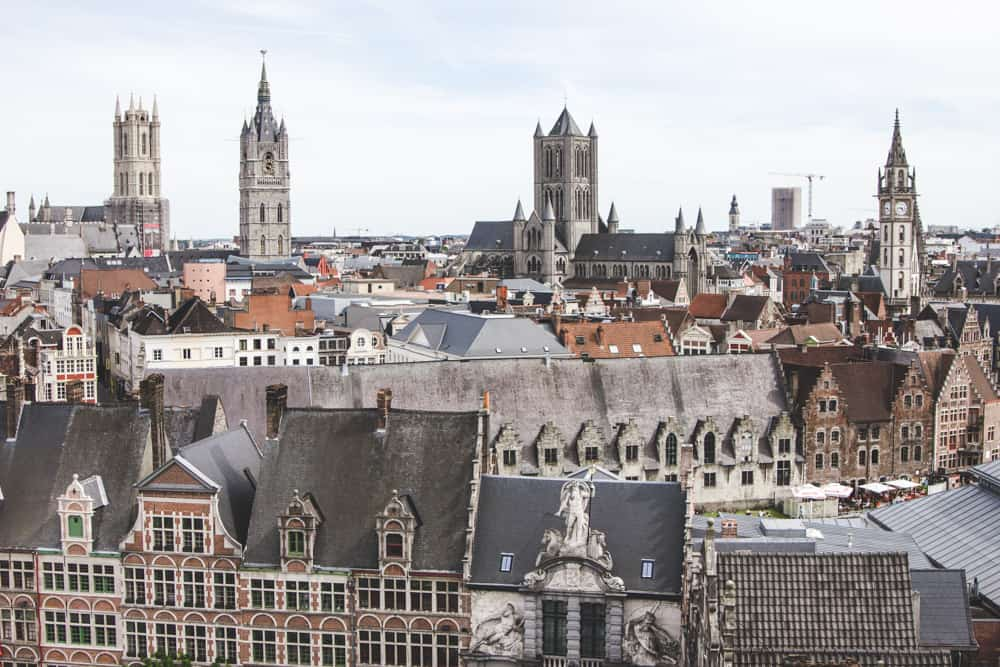View of Ghent, Belgium from Gravensteen - look at all the pretty rooftops and brick buildings!