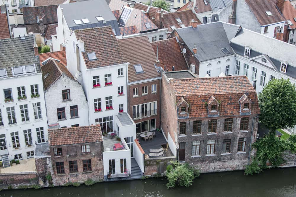 Brick houses on the river in Ghent, Belgium as viewed from Gravensteen Castle