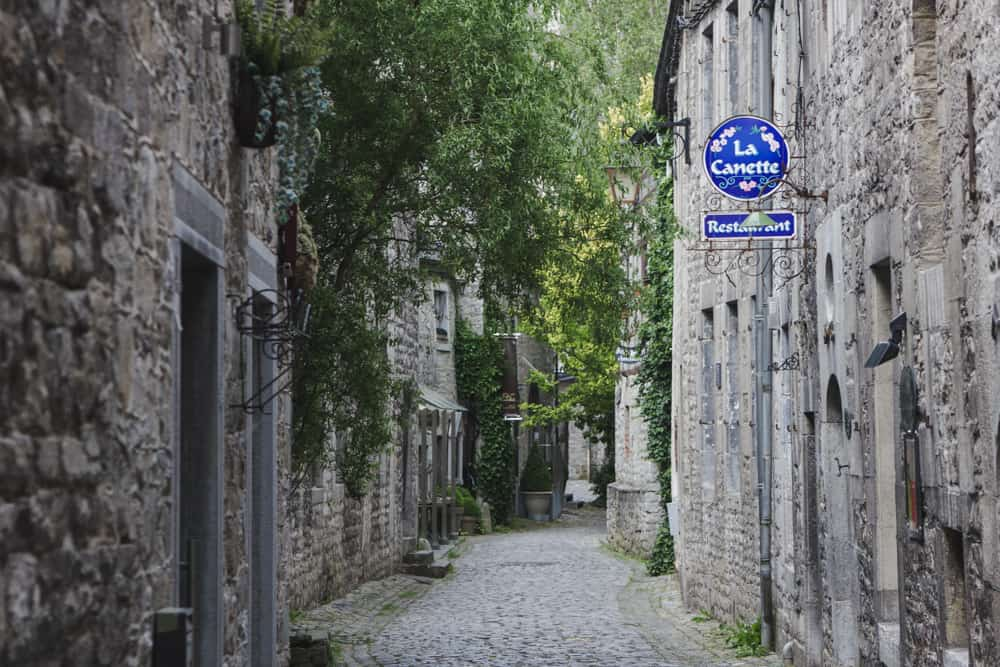 Cobblestone street lined with stone buildings and trees in Durbuy, Belgium