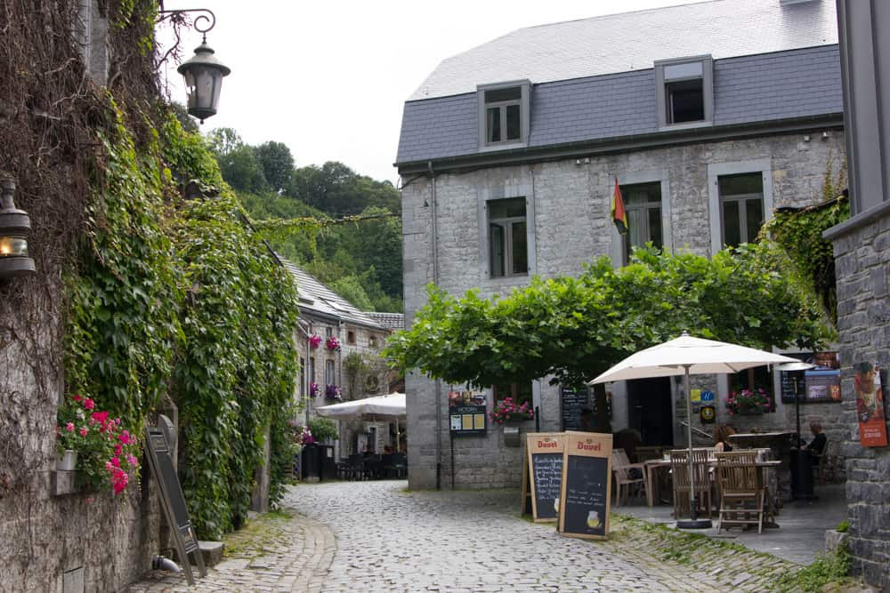 Picturesque cobblestone street in Durbuy, Belgium - once the smallest city in the world!