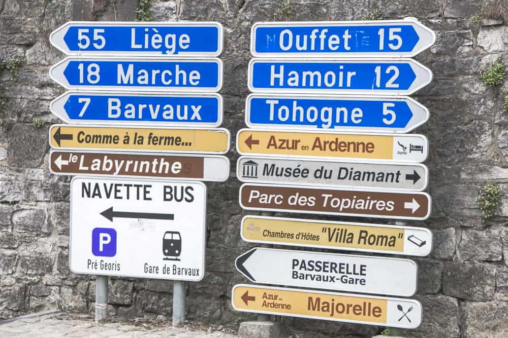 Road Signs in French in Durbuy, Belgium