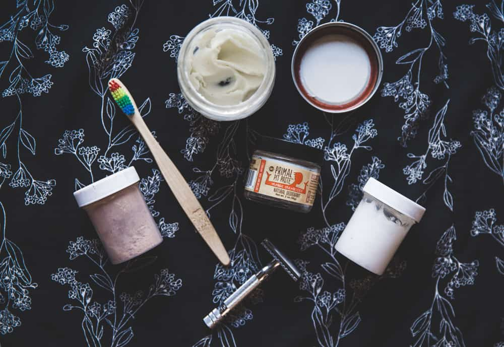 Zero Waste DIY Products - lotion, deodorant, dry shampoo, and toothpaste