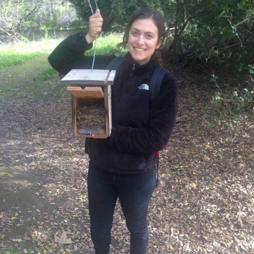 Kelsey holding a nest box