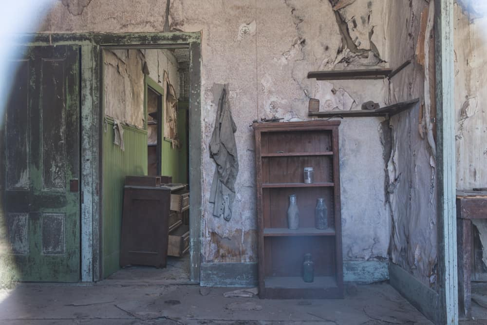 Inside an old ghosttown house in Bodie State Historical National Park in the Eastern Sierras near Mammoth in California