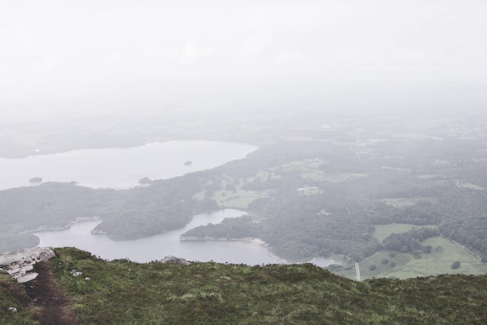 View of a lake from Torc Mountain in Killarney National Park
