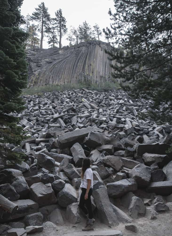 Devil's Postpile in the Eastern Sierras in California
