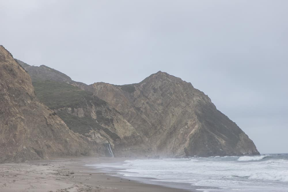 Seashore with large cliffs in Point Reyes in California