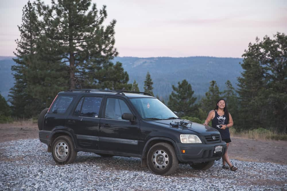 My old Honda CR-V and friend out our free campsite in Darnadelle, California off of Highway 108