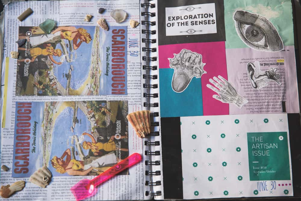 Use 3-D, tangible items, like parts of shells, in your travel journal to make it pop!