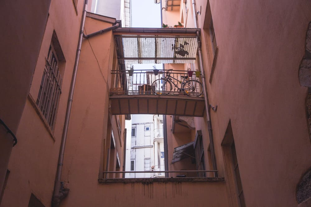 Peach pink balconies in Lyon, France
