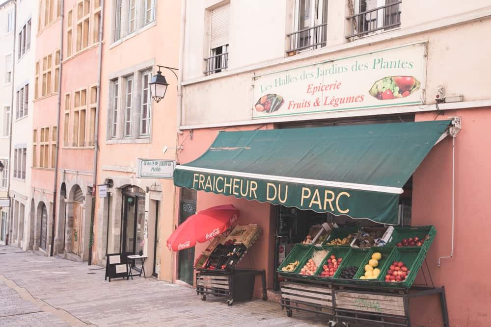 A store in Croix Rousse in Lyon on La Montée de la Grande Côte selling fresh fruits and vegetables.