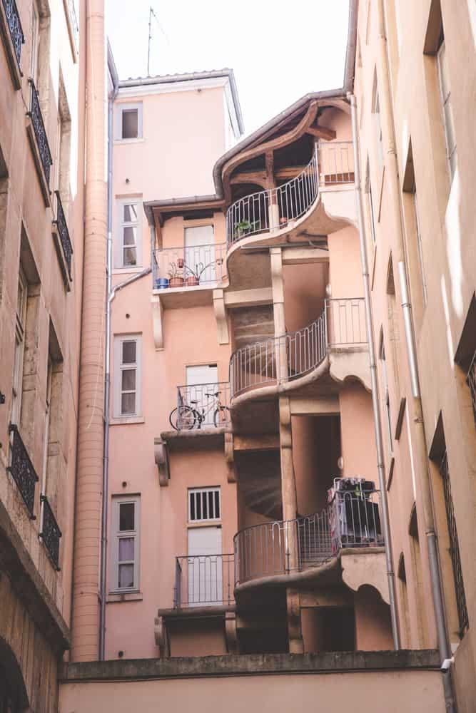 Pastel orange building in Lyon, France