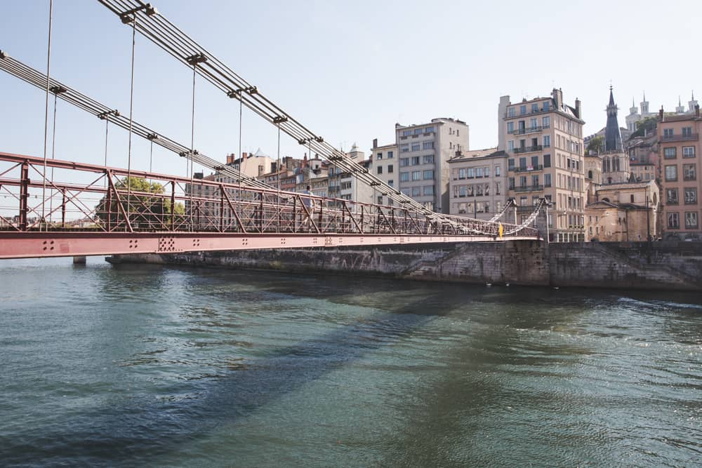 Bridge crossing the Saône River to Old (Vieux) Lyon, which has plenty of pretty pastel buildings!