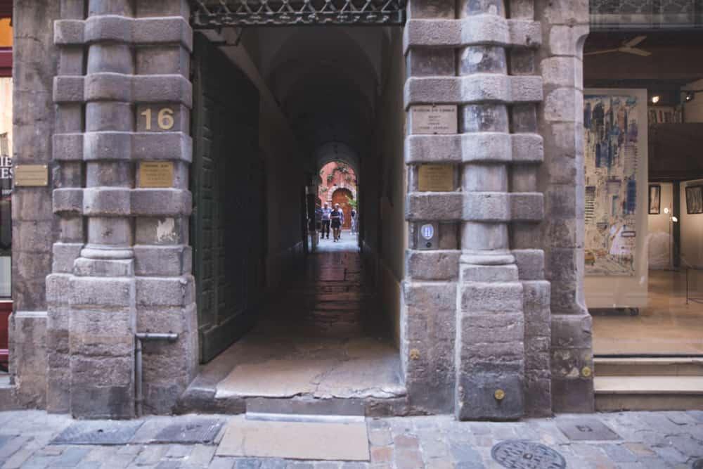 The entrance to Maison du Crible – Tour Rose traboule in Old (Vieux) Lyon
